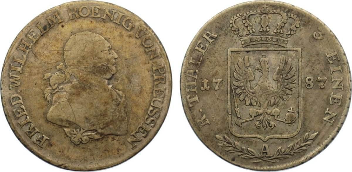 1/3 Taler 1787 A Brandenburg-Preußen Friedrich Wilhelm II. 1786-1797. fast sehr schön