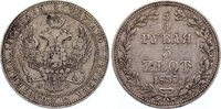 Polen 5 Zloty (3/4 Rubel) Nikolaus I. von Rußland 1825-1855.