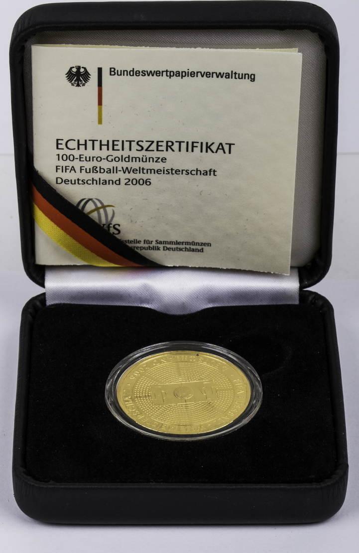 100 Euro 2005 A Deutschland - BRD Zur Fussball-WM 2006 in Deutschland PP (gekapselt)