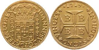 Brasilien 4000 Reis 1719 vz, Rs. kleine Stelle bea