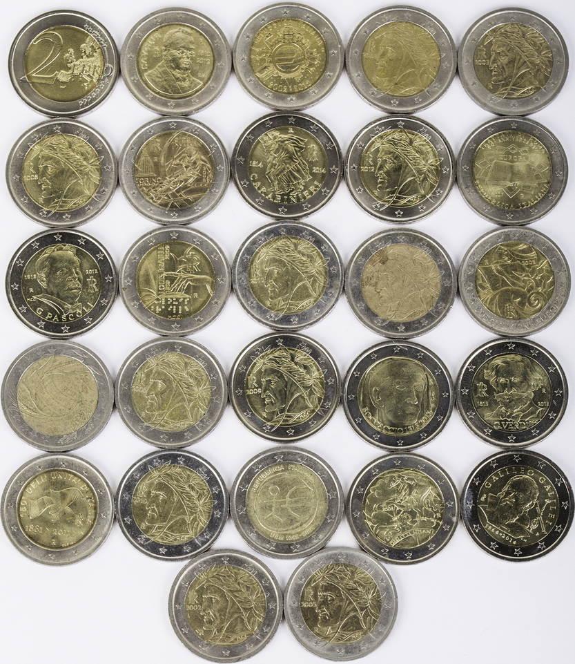 54 Euro 27 X 2 Euro 2002 2014 Italien Lot 2 Euro Münzen Italien