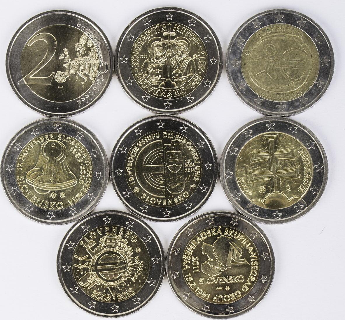 16 Euro 8 X 2 Euro 2009 2014 Slowakei Lot 2 Euro Münzen Slowakei