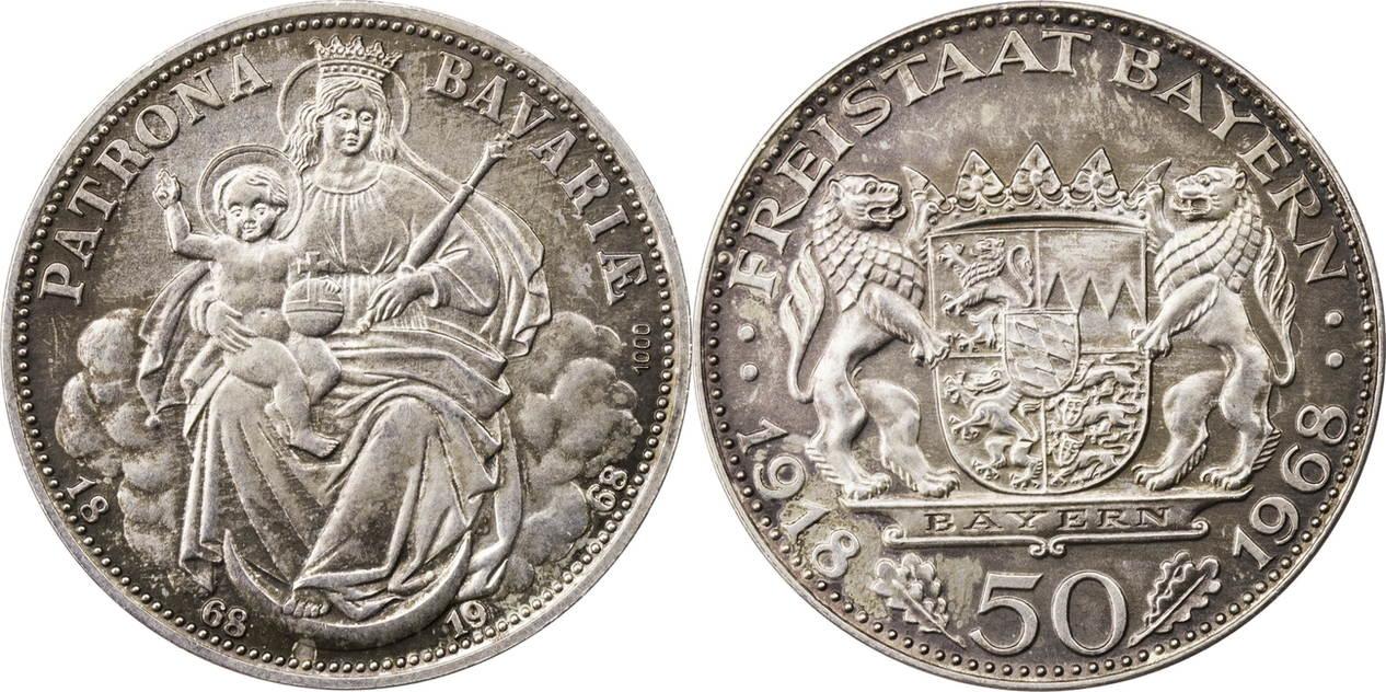 Ar Medaille 1968 Deutschland Bayern 50 Jahre Freistaat Bayern Vz
