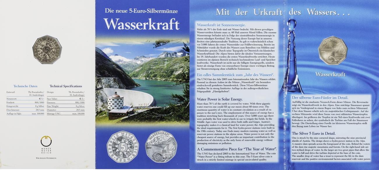 5 Euro 2008 Osterreich Wasserkraft St In Blister