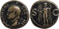 Römisches Weltreich AE-As Agrippa, gepr. unter Caligula / Kopf n.l. / Neptun steht mit Delfin u. Dreizack