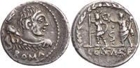 Römische Republik Denar P. Cornelius Lentulus Marcellinus, Büste des Hercules / Roma und Genius