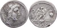 Römische Republik AR-Denar Cassius Longinus / Kopf des Genius Populi /Schwan steht n.r.