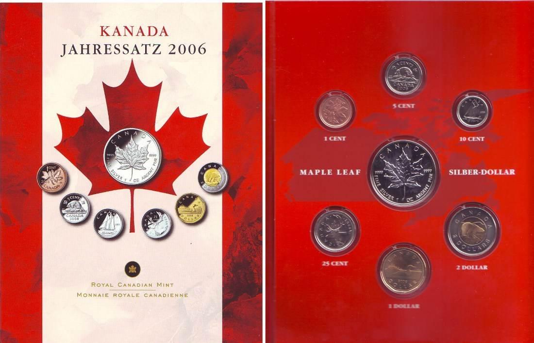 546 Dollar 2006 Kanada Kms Jahressatz 2006 7 Münzen 1 Cent Bis