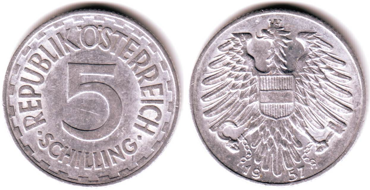 5 Schilling 1957 österreich Alu Kursmünze Gutes Vz Ma Shops