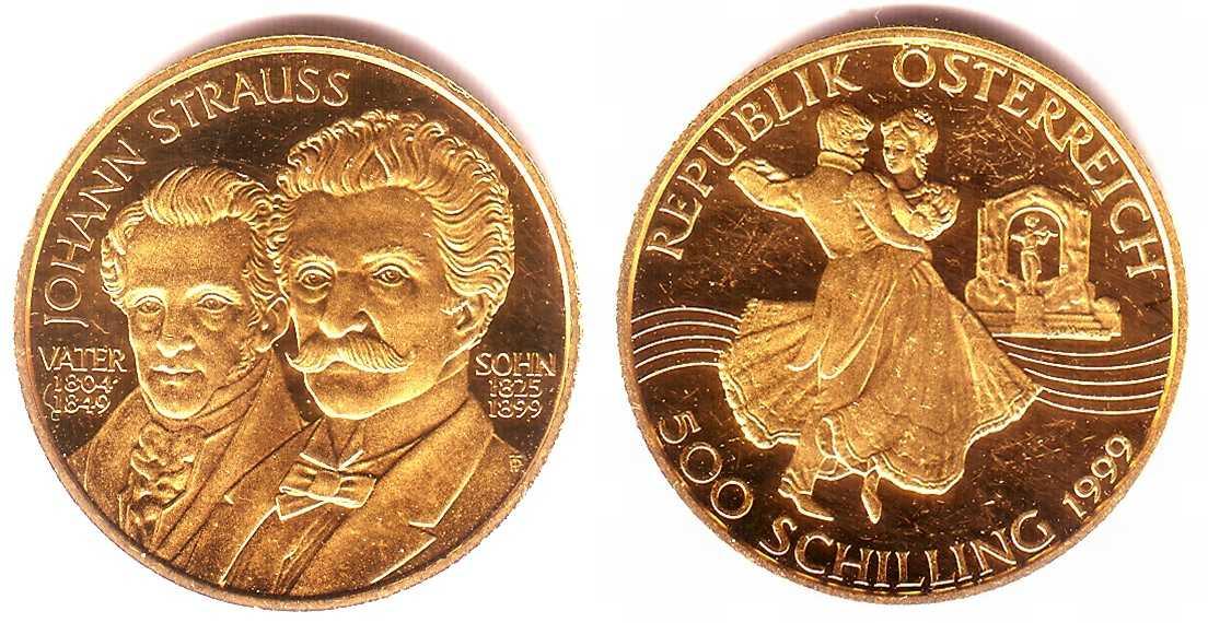 500 Schilling 1999 österreich Johann Strauß Vater Sohn Ppkr