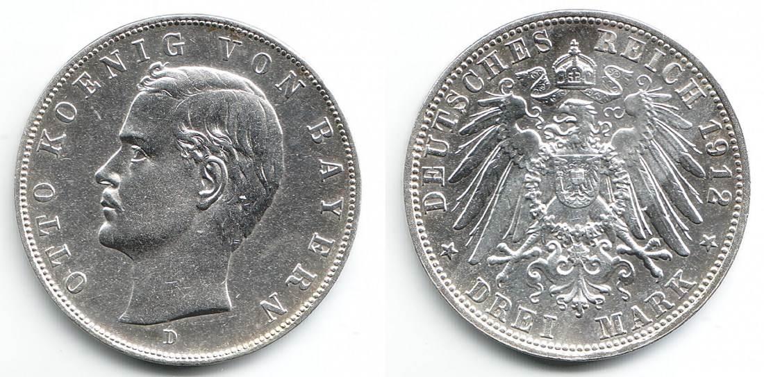 3 Mark 1912 D Bayern Silbermünze König Otto Von Bayern St Ma Shops