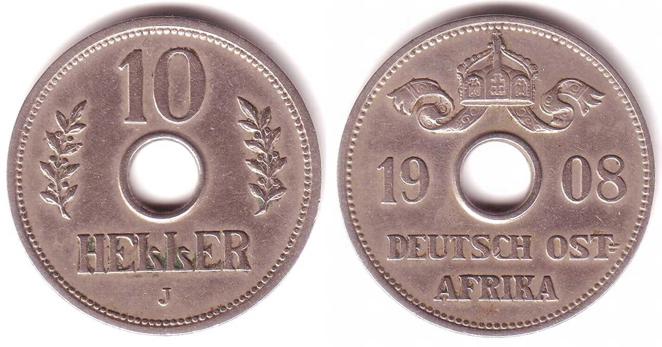 10 Heller 1908 J Deutsch Ostafrika 10 Heller Münze Mit Loch Vz Ma