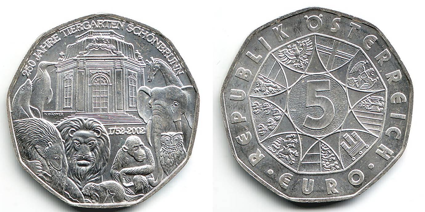5 Euro 2002 österreich 250 Jahre Tiergarten Schönbrunn Bfr Ma Shops