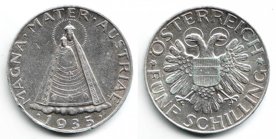 5 Schilling 1935 2 österreich Silbermünze Magna Mater Mariazell