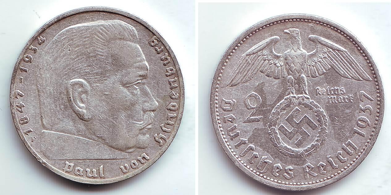 2 Reichmark 1937 F Deutsches Reich Hindenburg Ss Ma Shops