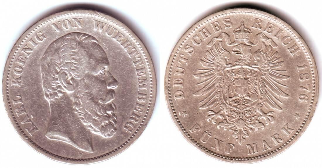 5 Mark 1876 F Württemberg Silbermünze König Karl Von Württemberg