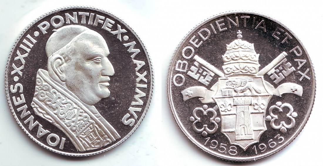 1963 Vatikan Gedenkprägung Versilbert Papst Johannes Xxiii