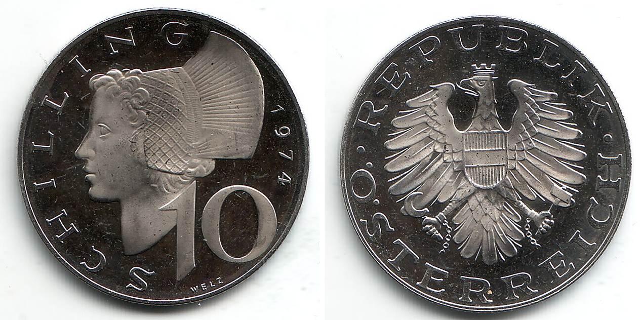 10 Schilling 1974 österreich 10 Schilling 2 Republik Fb Ma Shops