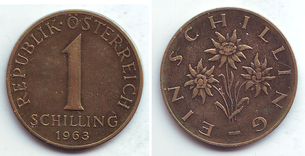 1 Schilling 1963 österreich 1 Schilling Ss Vz Ma Shops