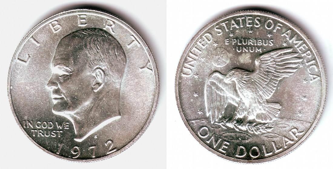 1 Dollar 1972 S Usa Silbermünze Eisenhower Mondlandung St Ma Shops