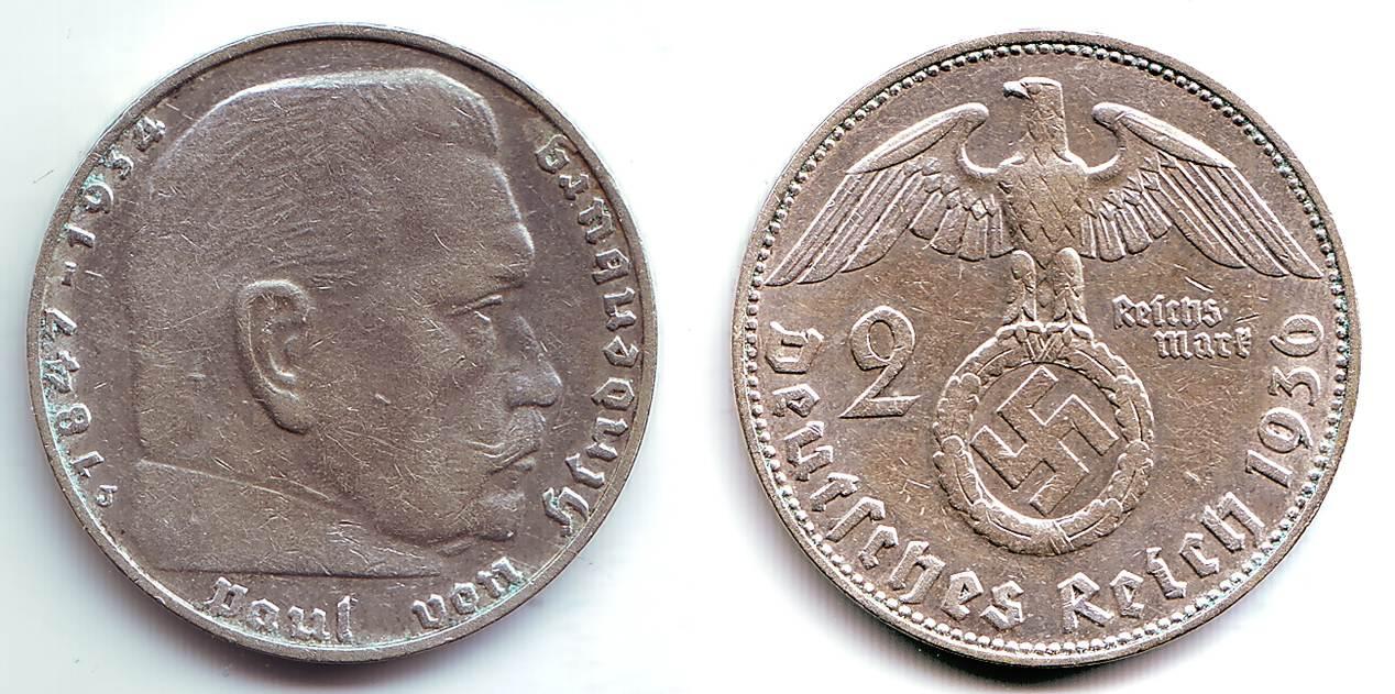 2 Reichsmark 1936 J Drittes Reich Paul Von Hindenburg Mit Hakenkreuz