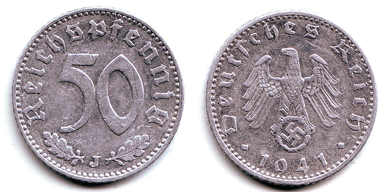 50 Pfennig 1941 J Deutsches Reich Kursmünze Ssvz Ma Shops