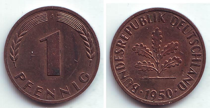 1 Pfennig 1950 J Brd 1 Pfennig Vz Ma Shops