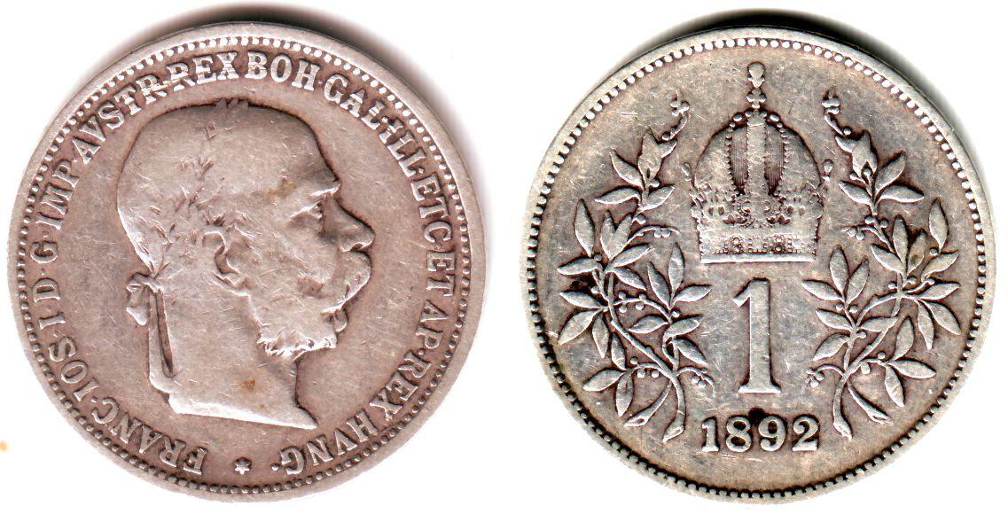 1 Krone 1892 österreich Silber Kursmünze Kaiser Franz Joseph Fast