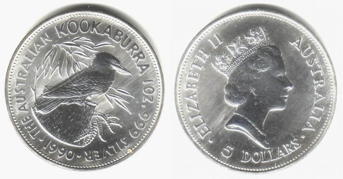 5 Dollar 1990 Australien 1 Silber Unze Kookaburra Bu In Original