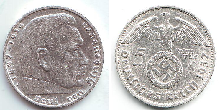 5 Reichsmark 1937 D Drittes Reich Paul Von Hindenburg Mit Hakenkreuz