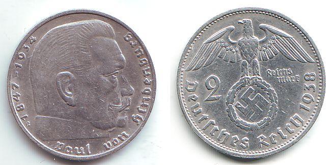 2 Reichsmark 1938 G Drittes Reich Paul Von Hindenburg Mit Hakenkreuz