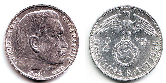 2 Reichsmark 1938 E Drittes Reich Paul Von Hindenburg Fst Ma Shops