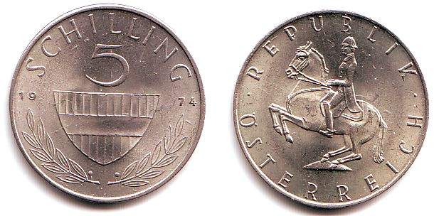 5 Schilling 1974 österreich 5 Schilling 2 Republik Prägefrisch