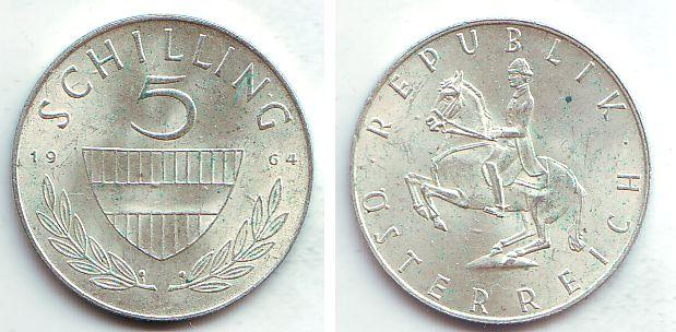 5 Schilling 1964 österreich 5 Schilling 2 Republik Prägefrisch