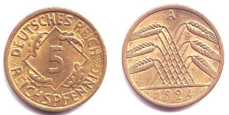 5 Reichspfennig 1924 A Weimarer Republik 5 Reichspfennig Mit ähren
