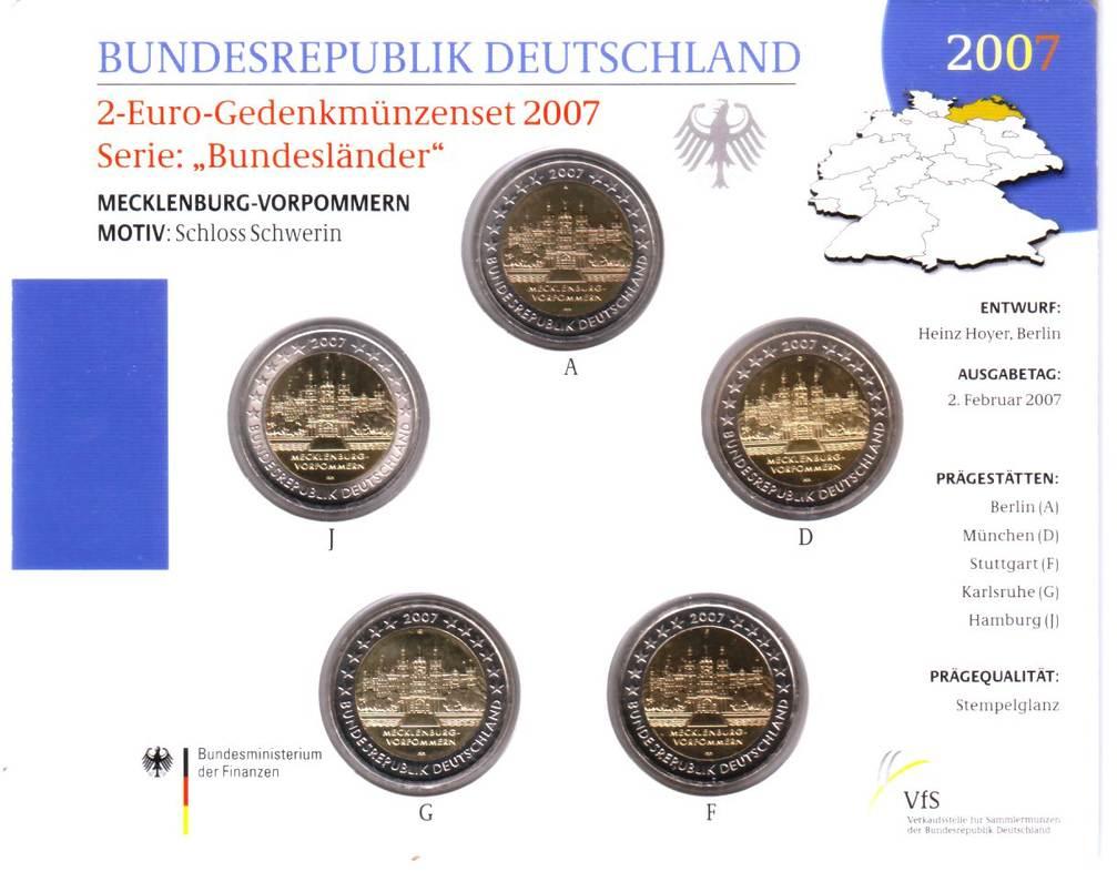 5x 2 Euro 2007 Deutschland 2 Euro Satz A D F G J Mecklenburg