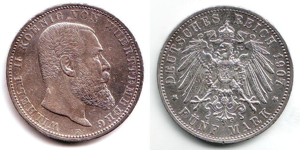 5 Mark 1907 F Württemberg Wilhelm Ii König Von Württemberg 1891