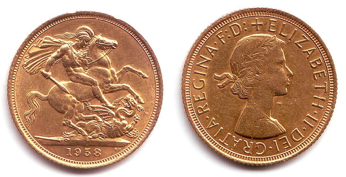 1 Sovereign 1958 Großbritanien 1 Pound Goldmünze Königin Elisabeth