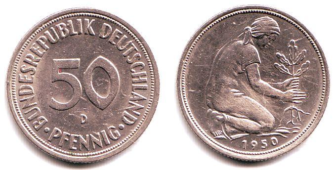 50 Pfennig 1950 D Brd 50 Pfennig Bundesrepublik Deutschland Vz Min
