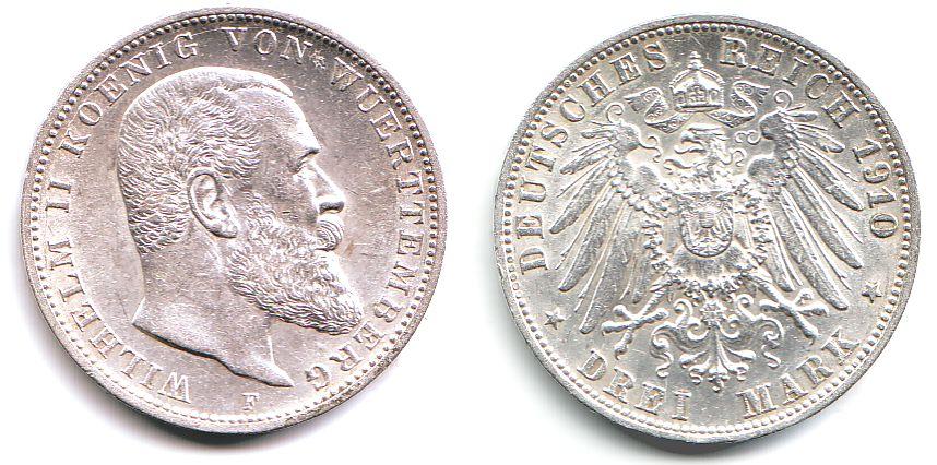3 Mark 1910 F Württemberg Wilhelm Ii König Von Württemberg 1891