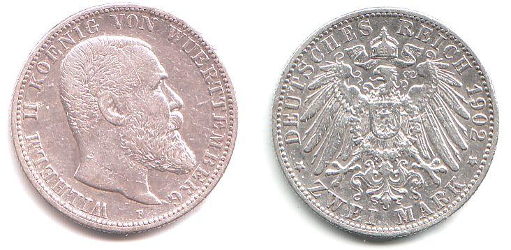 2 Mark 1902 F Württemberg Wilhelm Ii König Von Württemberg 1891