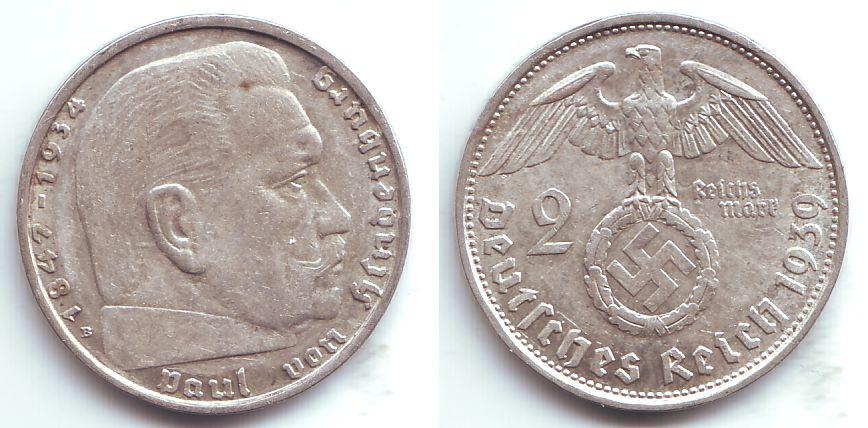 2 Reichsmark 1939 B Drittes Reich Hindenburg Vz Ma Shops