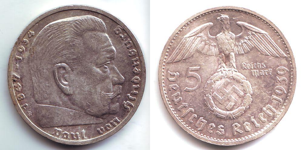5 Reichsmark 1939 B Drittes Reich Paul Von Hindenburg 1847 1934