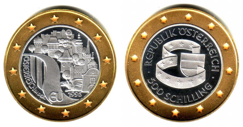 500 Schilling 1995 österreich Goldsilber Münze Eu Beitritt Pp In