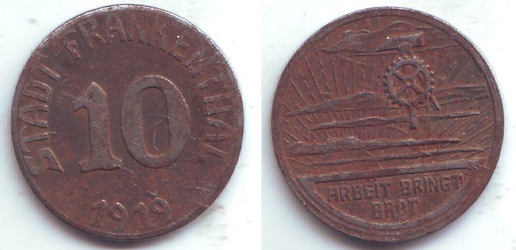 10 pfennig 1919 frankenthal notgeld der stadt frankenthal. Black Bedroom Furniture Sets. Home Design Ideas