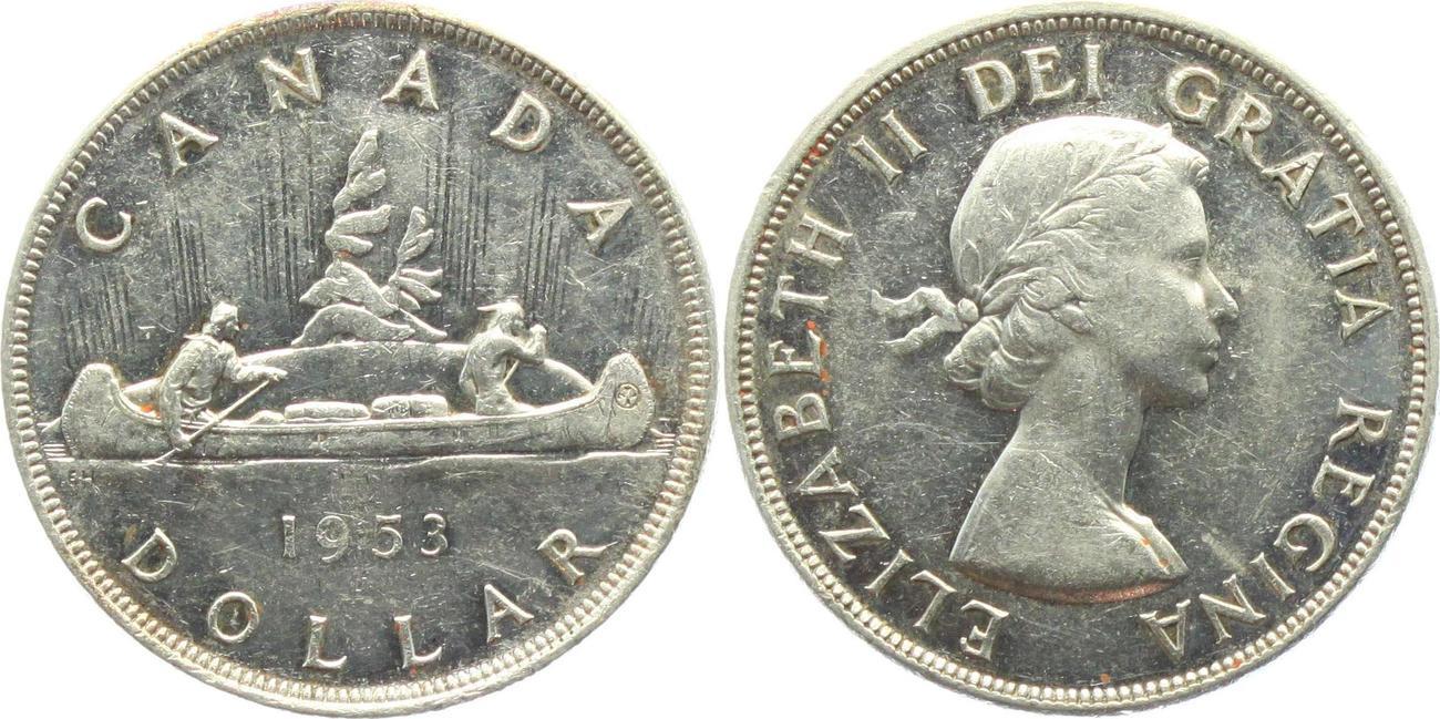 1 Dollar 1953 Kanada Indianer Im Kanu Vzst Ma Shops