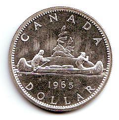 1 Dollar 1965 Kanada Silbermünze Indianer Im Kanu Königin