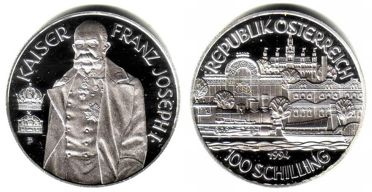 100 Schilling 1994 österreich Silbermünze Kaiser Franz Joseph I