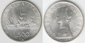 500 Lire 1958 Italien Silbermünze Segelschiff Flotte Des