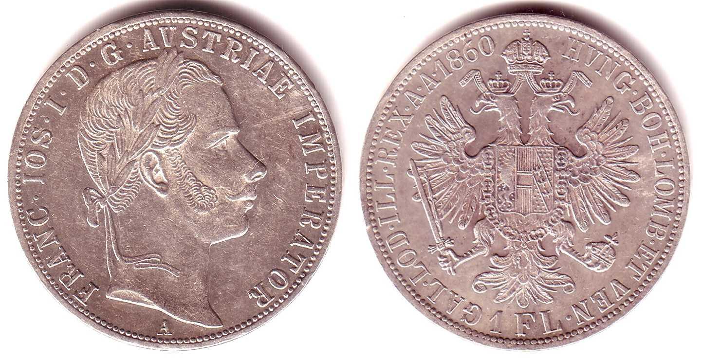 1 Gulden 1860 A österreich Kaiser Franz Joseph Vz Ma Shops